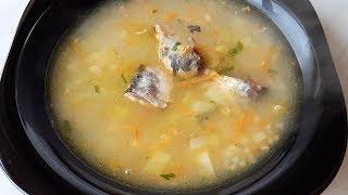 """Необычно вкусный суп из рыбной консервы """"Сардина в масле"""" с пшеном - быстро и сытно! Попробуйте!"""