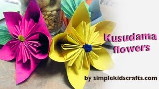 How to make an origami Japanese Kusudama flower - EP - simplekidscrafts