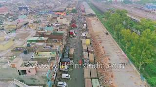 Azadpur Mandi, New Delhi : 4K aerials of largest fruit and vegetable market in Asia
