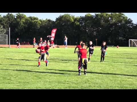 8 year old - Kellan Interception Spin Touchdown