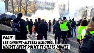 Paris : les Champs-Elysées bloqués, heurts entre police et Gilets jaunes