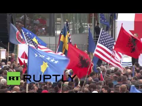 Serbia: Kosovan opposition protest against deal with Serbia and Montenegro