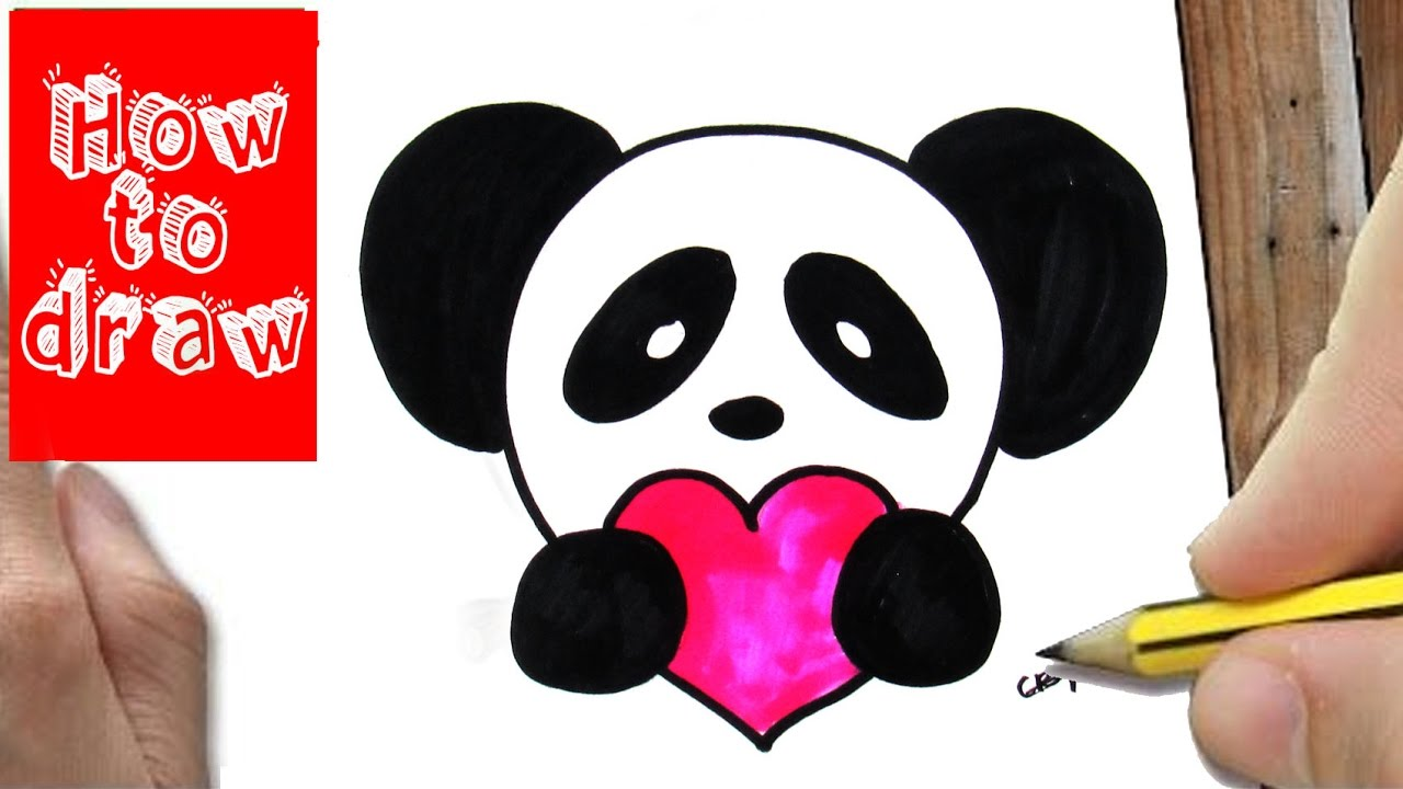 how to draw a panda with a heart