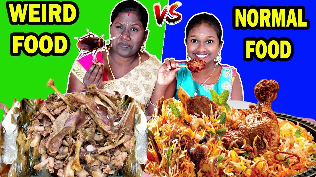 WEIRD FOOD vs NORMAL FOOD COMBINATIONS || FUNNY FOOD CHALLENGE IN TAMIL FOODIES DIVYA vs ANUSHYA