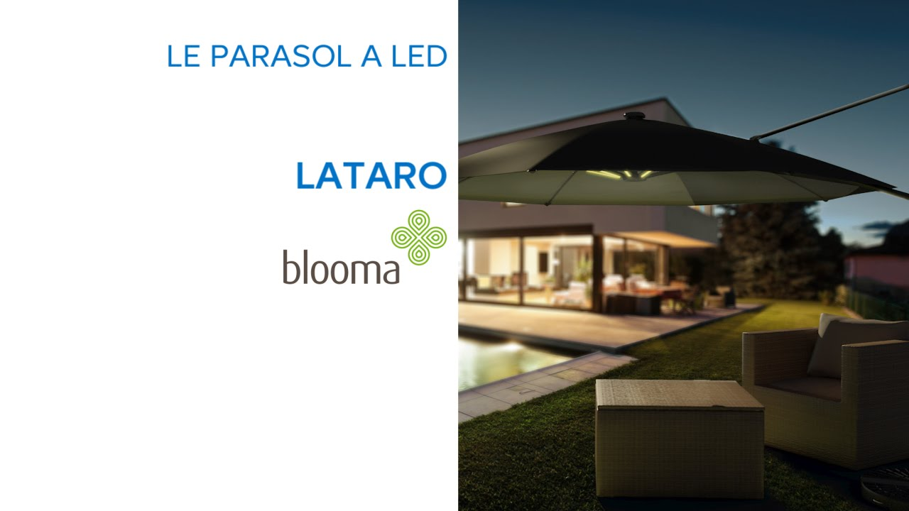 parasol led d port lataro blooma 688969 castorama youtube. Black Bedroom Furniture Sets. Home Design Ideas