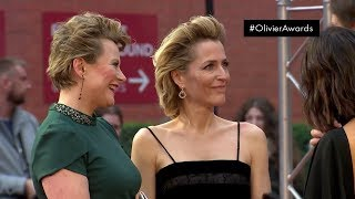 Gillian Anderson on the red carpet of the Olivier Awards 2019