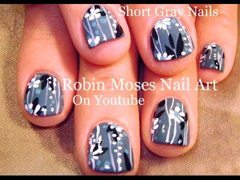 Short Gray Nails Easy Daisy Nail Art For Beginners Youtube