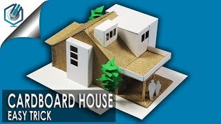 How to make easy modern House  with cardboard- with dimensions