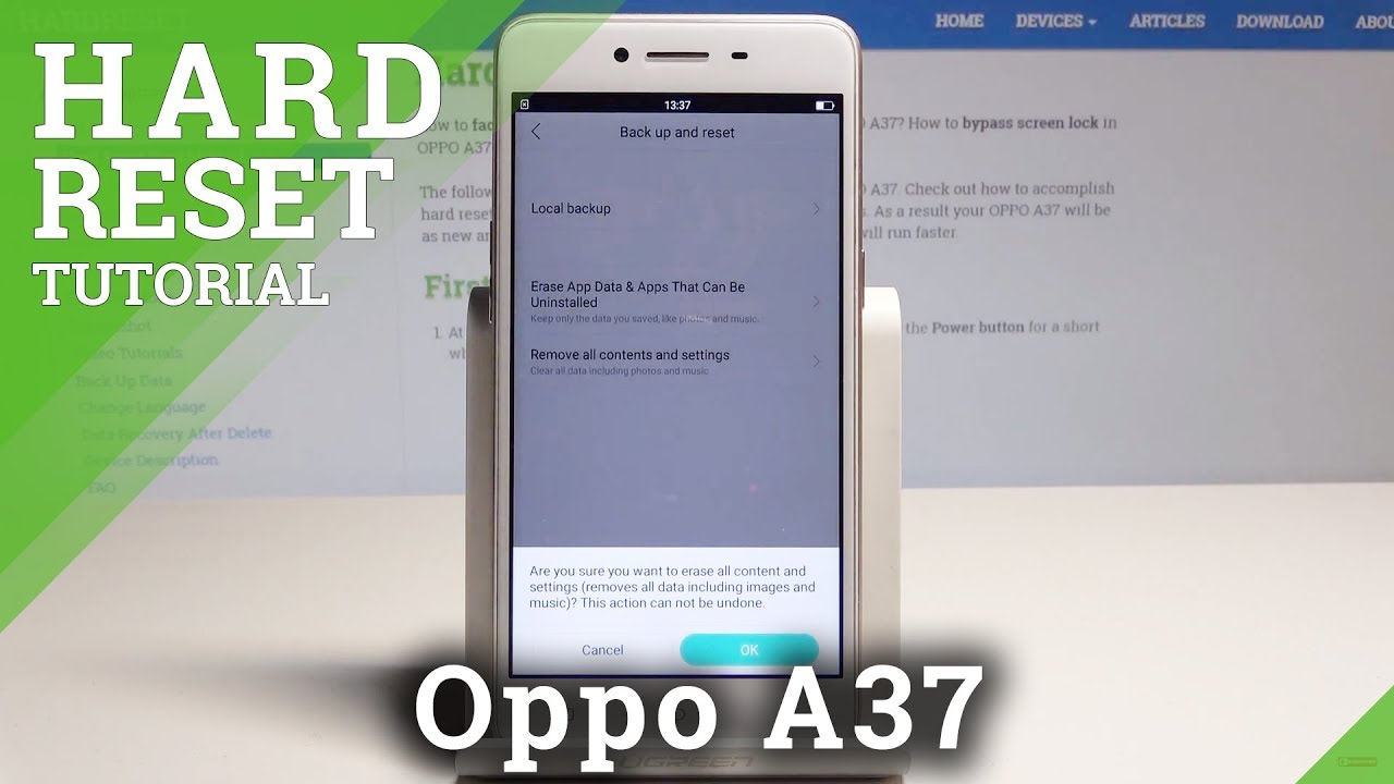 Factory Reset OPPO A37, how to - HardReset info