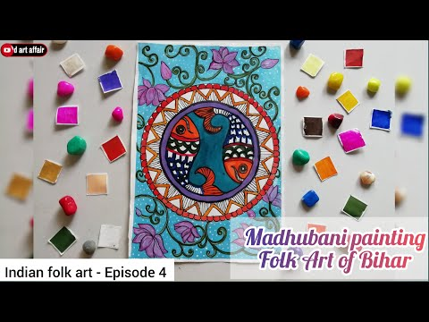 Daily challenge #13   madhubani painting/folk art of bihar/indian folk art/madhubani painting fish