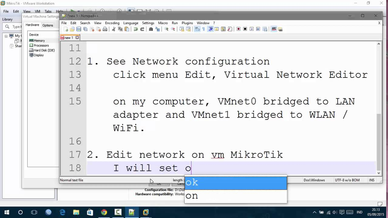 Step by Step Setting vm MikroTik with Bridged network on VMware