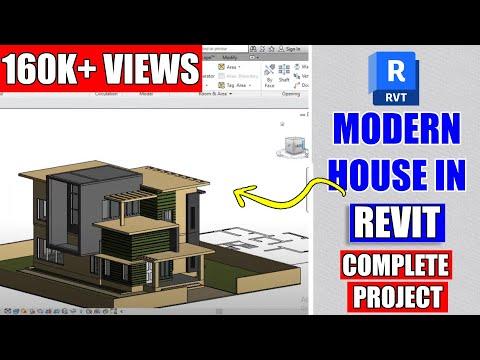 Revit Tutorial Project #7   Modern House Design In Revit   Model In Place