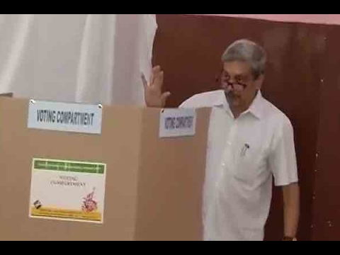 Goa Polls: Defence Minister Manohar Parrikar casts his vote at a polling station
