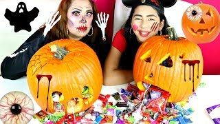 HALLOWEEN PUMPKIN CARVING CHALLENGE!!! tons of candy B2cutecupcakes