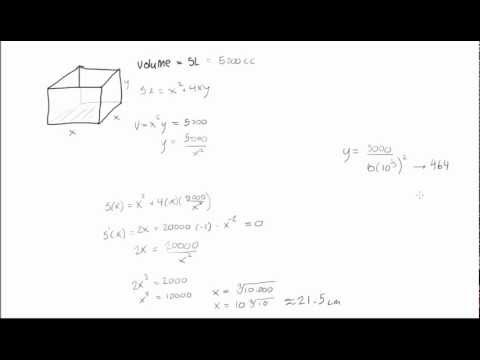 How to minimize the surface area of a box youtube how to minimize the surface area of a box ccuart Choice Image