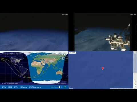 Sunset Over North Pacific - NASA/ESA ISS Space Station Livestream With Map - 74 - 2018-04-06