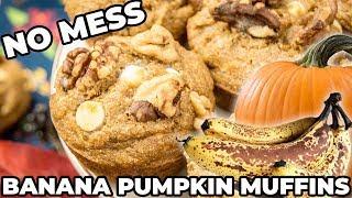 Banana Pumpkin Muffins | NO DISHES, NO MESS | The Starving Chef