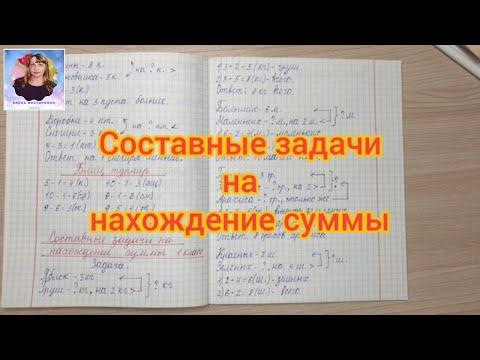 Решение составных задач по математике на нахождение суммы в 1 классе.