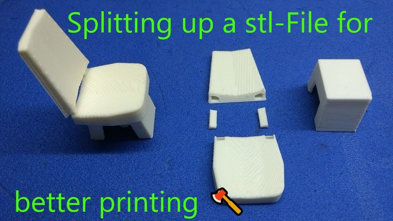 Printing a 1:14 truck seat - splitting up a stl-file with ViaCad for better printing