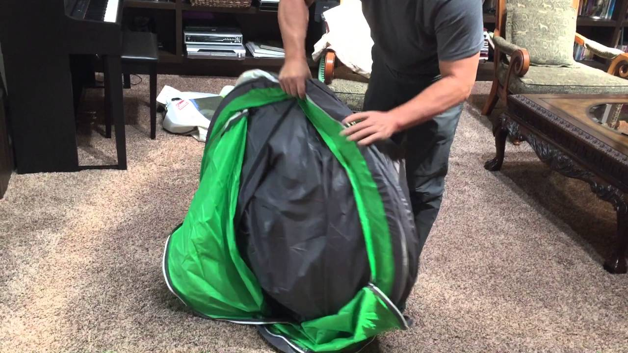 & How to fold and store a coleman 4 person pop up tent - YouTube