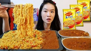 Indian Maggi Masala Noodles! Chicken Tikka Masala & Matar Paneer - Cooking Mukbang w/ Asmr Eating