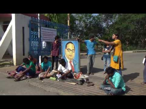 Protest at HCU AGAINST THE REMOVAL OF Babasaheb Ambedkar's posters