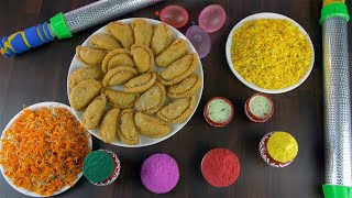 Top view shot of attractive festive items for joyful Holi festival celebrated in India