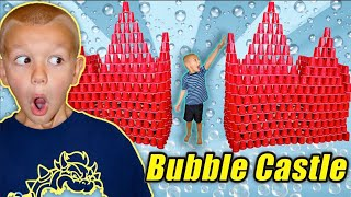 Little Brother Wrecks Red Bubble Castle Made Of Red Cups!