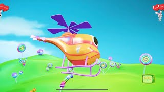 helicopter colorful animation for kids yellow candy while running