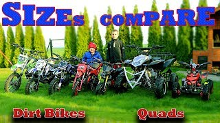Mini Dirt Bikes - Quads - SIZES COMPARE - Must Watch before you buy!