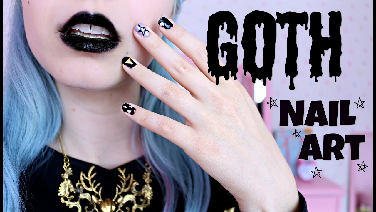 Goth Nail Art Tutorial - YouTube