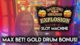 $10 MAX Bet BONUS! Dancing Drums Explosion Slot Machine!