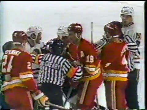 Chicago Blackhawks vs Calgary Flames Brawl 1989
