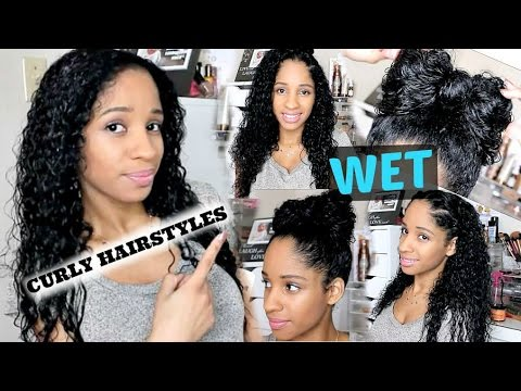 5 WET CURLY HAIRSTYLES I Back To School YouTube