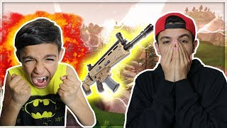 STEALING HIS LEGENDARY SCAR! Trolling Little Brother On Fortnite Battle Royale!