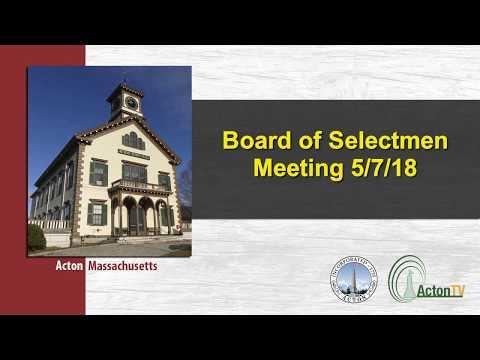 Board of Selectmen Meeting 5/7/18