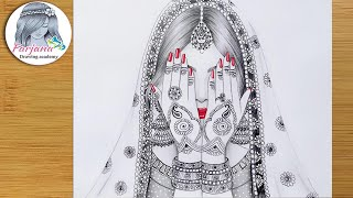 How to Draw a Traditional Bride - Easy Pencil Sketch Tutorial  || Mandala art of an Indian bride