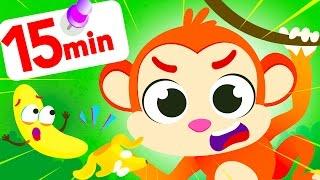 Monkey Peels Bananas! Fun Jungle Dance Animals & Colourful Gummy Bears by Little Angel