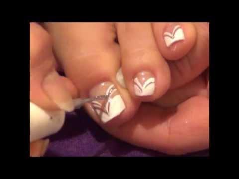 Toe nail Design - Elegant White V-shape French Design - Toe Nail Design - Elegant White V-shape French Design - YouTube