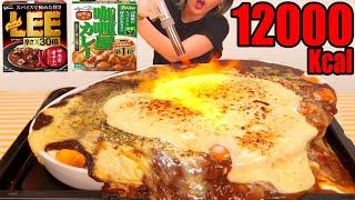 【大食い】卵20個とチーズを大量投下!レトルトカレーを簡単アレンジしたら超美味焼きカレーに!!LEE 辛さ30倍[カリー屋カレー]杏仁ラッテ[6kg] 20人前[12000kcal]【木下ゆうか】