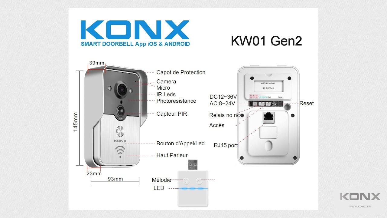 d/étecteur de mouvement KONX Portier Vid/éo Connect/é KW01 Gen2 720p Wi-Fi Full Duplex