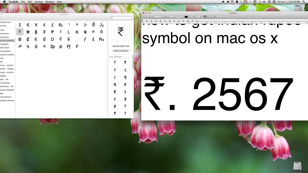How To Get Indian Rupee Symbol On Mac Os X Youtube
