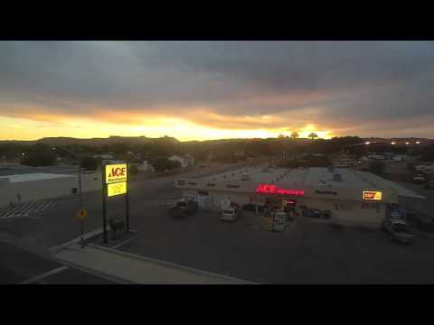 Evening Fly over Overton Ace Hardware with Sunset.