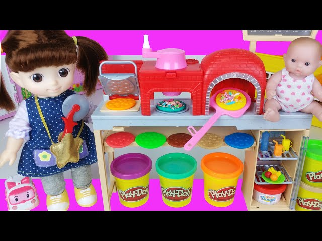 Baby doll food and Play doh pizza cooking toys play house story - ToyMong TV 토이몽