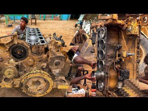 Download Rebuilding CAT 966E Wheel Loader Full Engine    Repairing CAT 6 Cylinder Engine in Local Workshop
