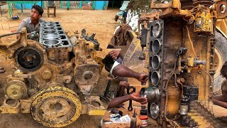 Rebuilding CAT 966E Wheel Loader Full Engine    Repairing CAT 6 Cylinder Engine in Local Workshop