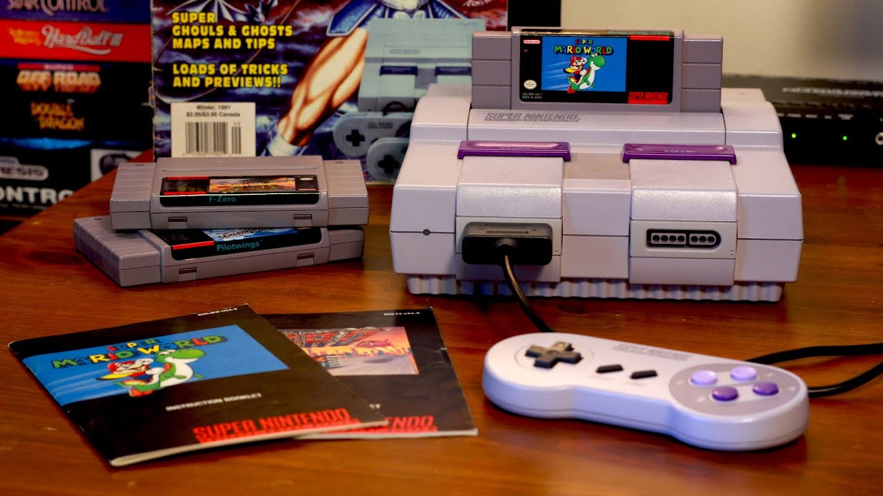A picture of the SNES system on a desk.