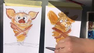 ЛЕТУЧАЯ МЫШЬ. Как рисовать. Рисование для малышей. Рисуем с Илюшей.