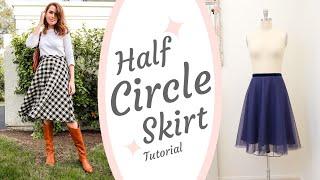 DIY Half CIRCLE SKIRT Sewing Tutorial | Fully Lined & Invisible Zipper