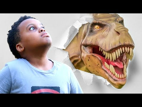 Thumbnail: Bad Baby T-Rex ATTACKS - Scary T-Rex vs Shasha And Shiloh IRL - Onyx Kids